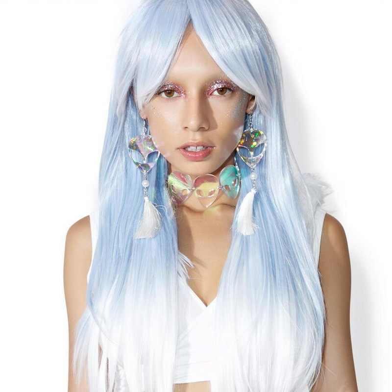 Moda Personalidade Exagerada Brincos Do Holograma do Laser Cabeça Estrangeira Sexy Maré Feminino Borlas Bling Brincos Cosplay Partido Estranho