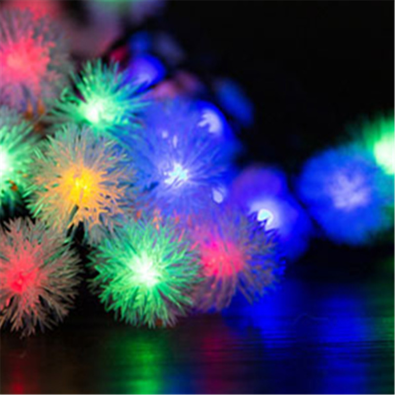 luminarias led solar panel lights lawn spotlight wall lamp new year christmas garland light garden outdoor floodlight decoration Waterproof 6.5/9.5m LED Solar Panel Snow Ball String Lights New Year Christmas Tree Garland Outdoor Garden Indoor Decoration