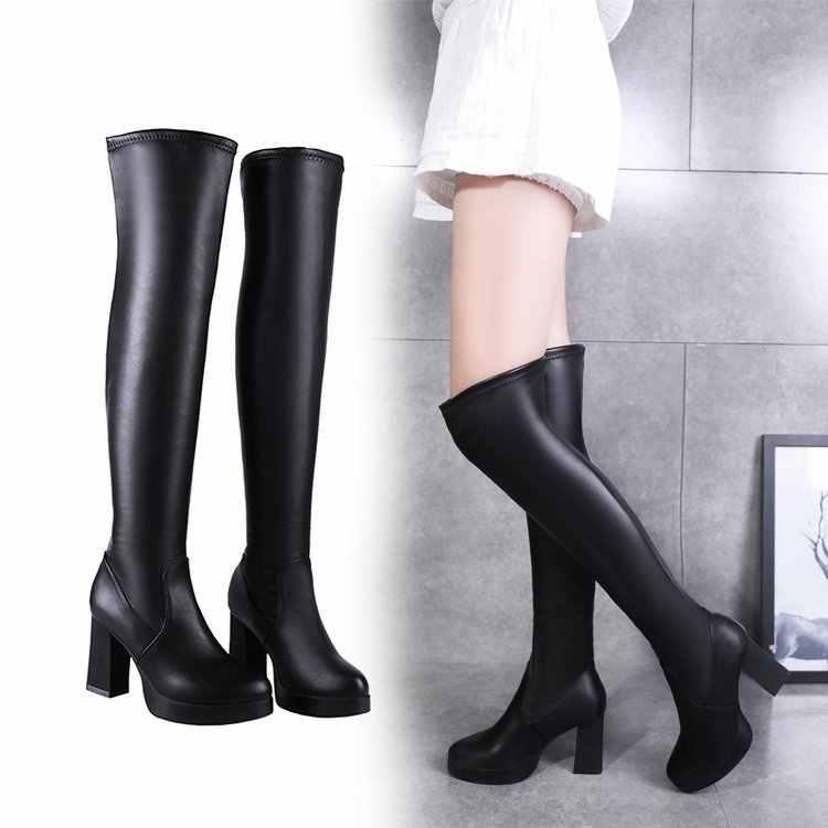 ผู้หญิงฤดูหนาวกว่าเข่าต้นขารองเท้าส้นสูงสั้น Plush รองเท้าหนัง Pointed Toe เซ็กซี่สีดำอบอุ่นรองเท้าบูท