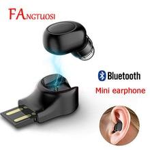 FANGTUOSI Mini Bluetooth Earphone Wireless Headset stereo earbuds hidden micro earpiece With Mic For iPhone X 7 Earbud Earphones