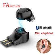 FANGTUOSI 미니 블루투스 이어폰 무선 헤드셋 스테레오 이어 버드 아이폰 X 7 이어폰 이어폰 용 마이크가있는 숨겨진 마이크로 이어폰