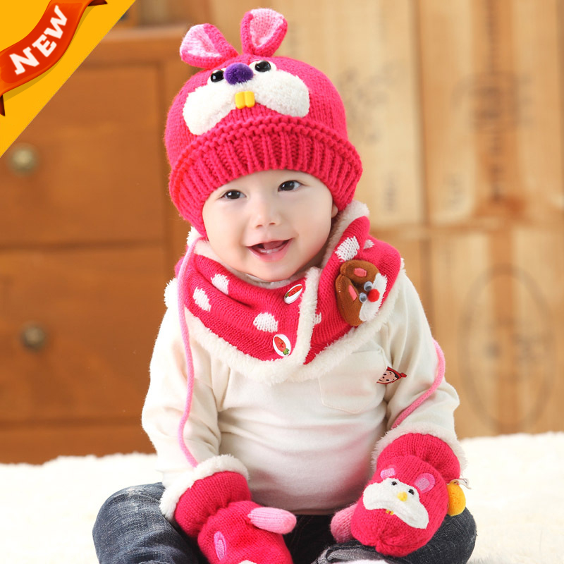 626db0bb7fd Children Winter Hat Set Cotton knitting Boy Hat Scarf Suit   Baby Winter Hats  Scarf Gloves Set Girls Hat For Toddler Baby C766-in Hats   Caps from Mother  ...