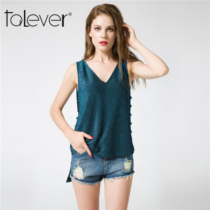 Talever 2017 Fashion Summer Women Clothes Big Size Sexy Hollow Out Loose Womens T-Shirt Open Side Tops Backless Shirt For Women