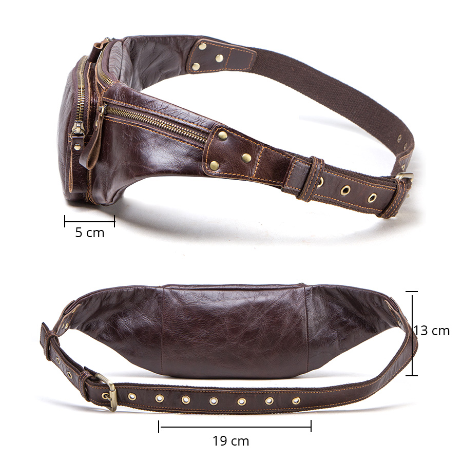 CONTACT'S cow leather men waist bag new casual small fanny pack male waist pack for cell phone and credit cards travel chest bag 2