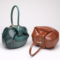 New 2017 Clutch Alligator Round Women Top Handle Bags Designer Vintage Hasp Ball Hobos Genuine Leather