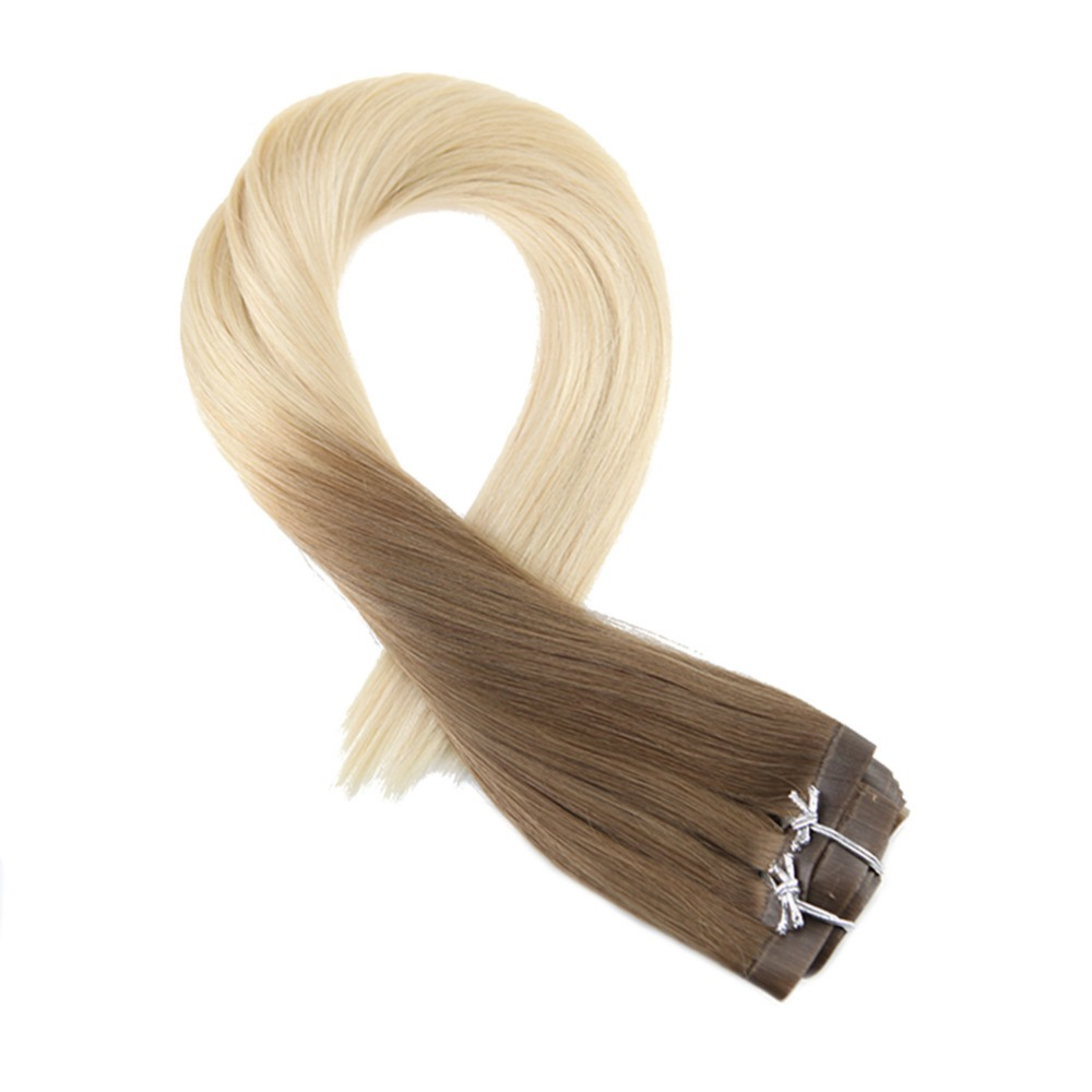 Moresoo Seamless PU Clip In Human Hair Extensions Brown Fading To Bleach Blonde #613 Remy Brazilian Hair 7PCS 120G Full Head Set
