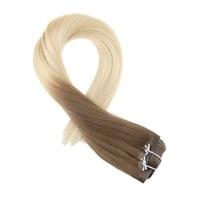 Moresoo Seamless PU Clip in Human Hair Extensions Brown Fading to Bleach Blonde #613 Machine Remy Brazilian Hair 7PCS 120G