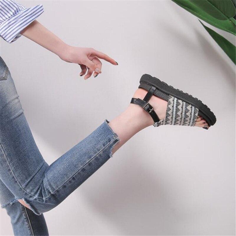 El 018 Los La Zapatos Verano Pie chocolate De Más Sandalias Mujer Punta Dedo Tamaño Del Plataforma Abierto Negro Redonda Negro Señoras Blanco FUFrwqZ