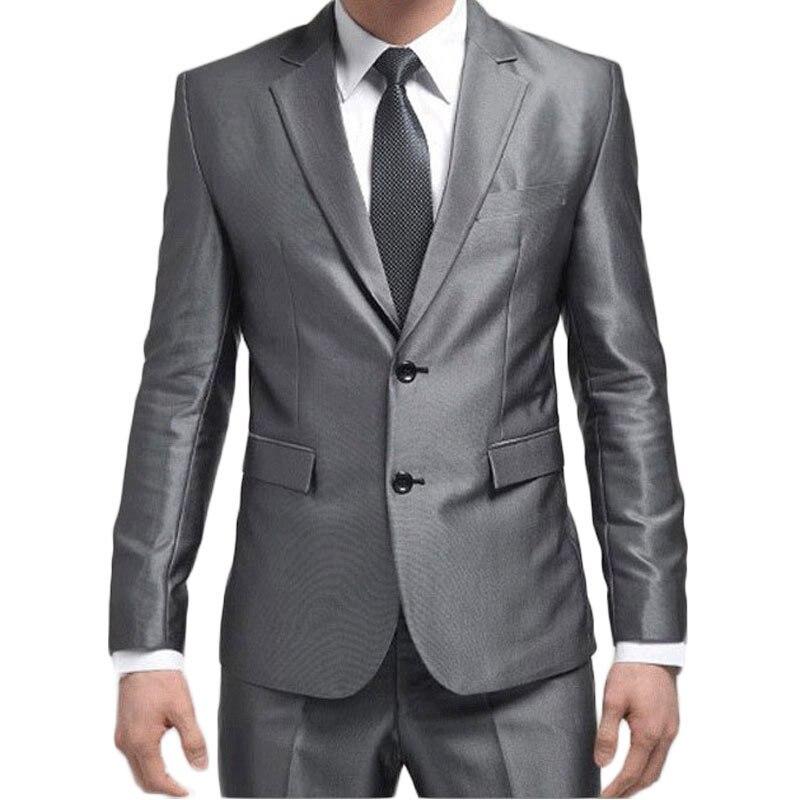 (Chaqueta + Pantalones + TiE) 2017 nuevos hombres traje astilla moda  delgada para hombre de dos Botones negocios Trajes con Pantalones boda Trajes  para ... ff03c28b4cf