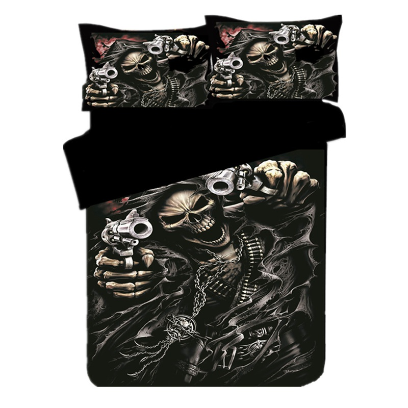 Prajna Skull Bedding Set 3d Nordic Funda Linens Duvet Cover Set 2/3pcs Single Double Queen King Bedclothes King Size Sex D