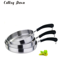 Stainless Steel Uncoated Wok Induction Cooker Universal Multi size Non stick Frying Pan Family Hotel Universal Flat Bottom Wok