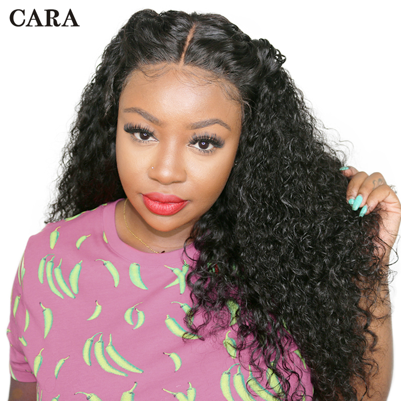 CARA Lace Front Human Hair Wigs Curly 250% Density Brazilian Remy Hair Pre Plucked Natural Hairline With Baby Hair