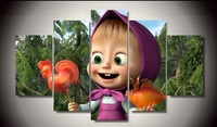 Unframed Printed Masha And The Bear 5 Piece Painting Wall Art Children S Room Decor Poster