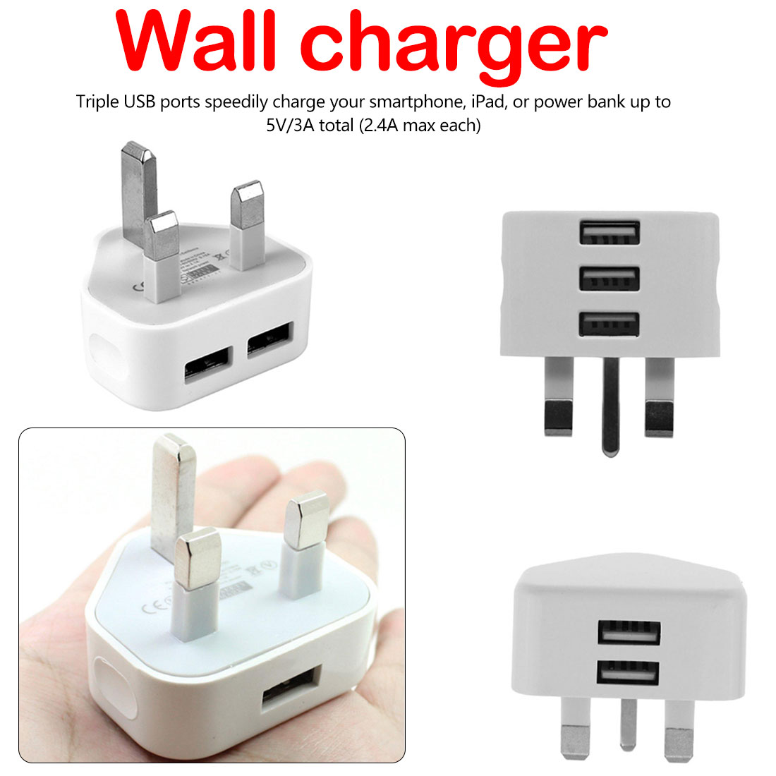 Travel Charger Charging For Phone IPad Universal 1/2/3-Port USB UK Plug 3 Pin Wall Charger Adapter Multi-port Charger