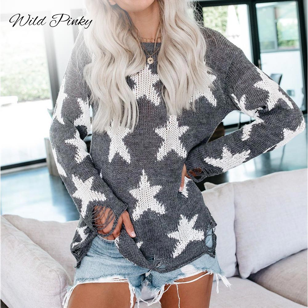 WildPinky Pullover Sweater Women Jumper Clothing Loose O-neck Star Sweater Female Jumper Pull Top Women Winter Knitted Sweaters
