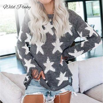 WildPinky Pullover Sweater Women Jumper Clothing Loose O-neck Star Sweater Female Jumper Pull Top Women Winter Knitted Sweaters sweaters modis m182w00296 jumper sweater clothes apparel pullover for female for woman tmallfs
