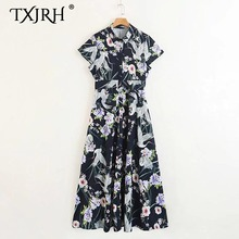 TXJRH Vintage Ethnic Crane Floral Print Turn-down Collar Pleated Dress Sexy Women Short Sleeve Long A-Line Swing Dress Vestidos