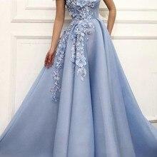 Очаровательные синие вечерние платья А-силуэта с открытыми плечами цветочной аппликацией Дубай Саудовская Арабская длинное вечернее платье для выпускного вечера