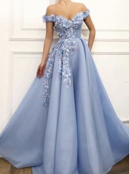 Charming Blue Evening Dresses 2019 A-Line Off The Shoulder Flowers Appliques Dubai Saudi Arabic Long Evening Gown Prom Dress 1