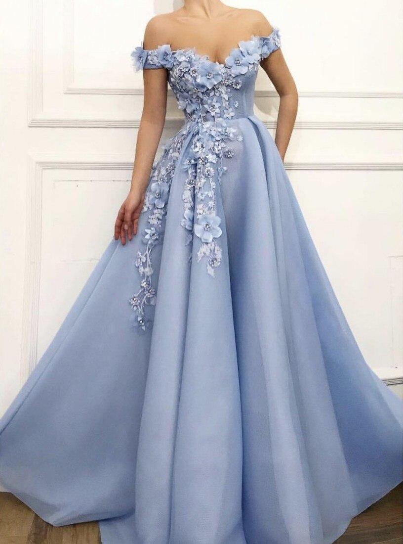 Charmantes robes de soirée bleues 2019 a-ligne hors de l'épaule fleurs Appliques Dubai saoudien arabe longue robe de soirée robe de bal