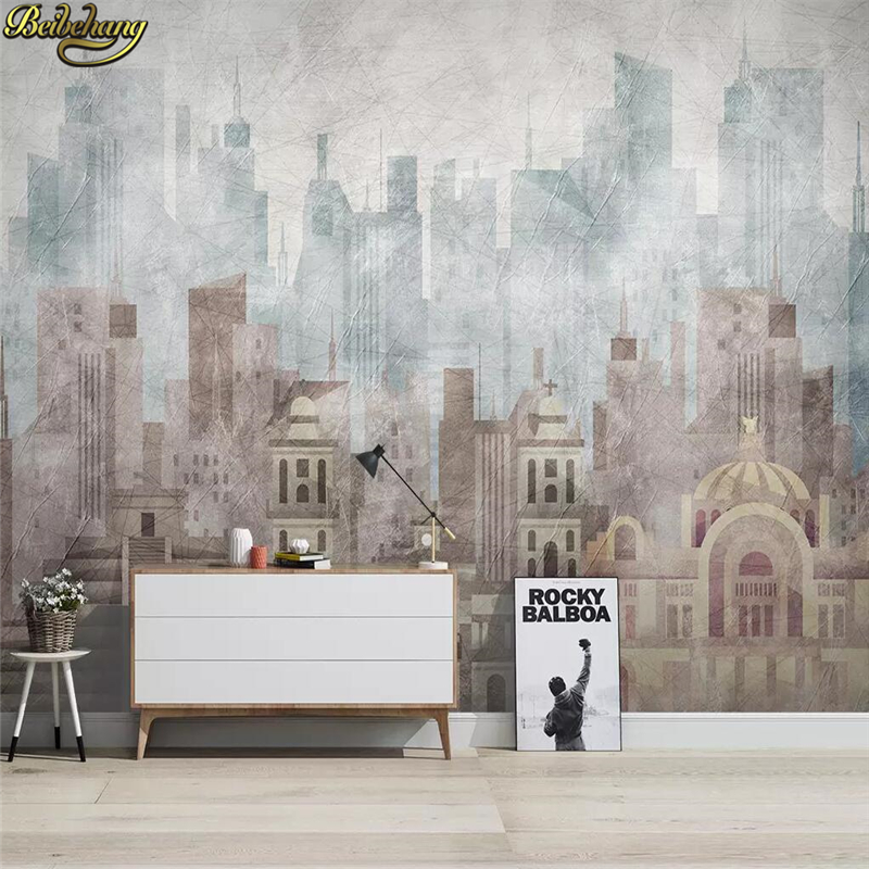 Beibehang Custom European Geometric Architecture Wallpaper For Living Room Bedroom TV Background Papel Mural Wall Paper Painting