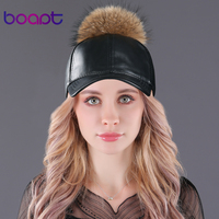 BOAPT Good Pu Leather Caps Real Raccoon Fur Pompom Hat For Women Hats With Spring Summer
