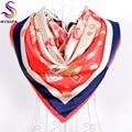 Marca Fulares Impreso Nuevo Diseño Rojo Ropa Accesorios Mujeres Bufanda Del Silenciador de Seda 90*90 cm Aire de Verano acondicionado Bufandas