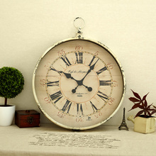 Circle wall clock vintage retro tieyi finishing clocks fashion decoration new arrival