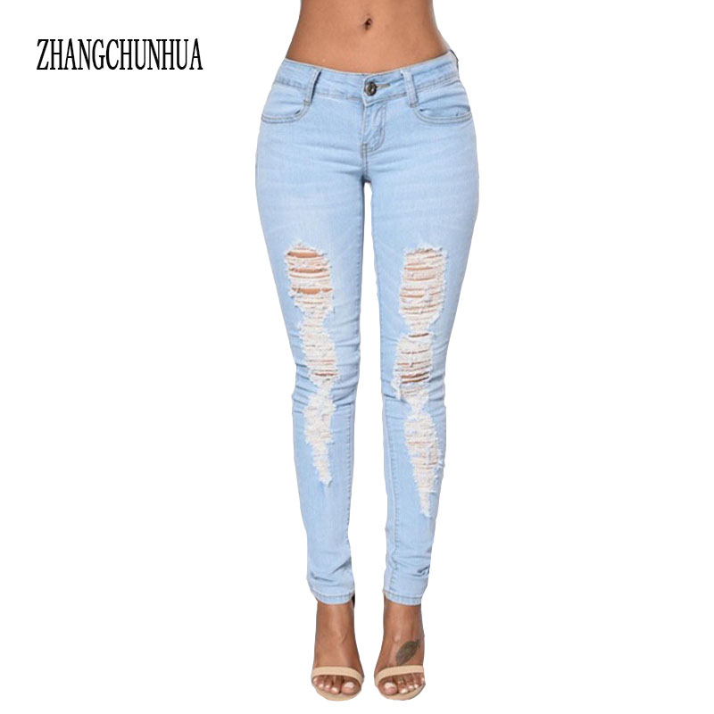 ZHANGCHUNHUA Womens Ragged Jeans Holes Slim fit Jeans Girl Ripped High Quality Brand Push up Jeans