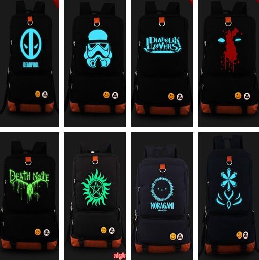 ФОТО New Movie Star War x-men Deadpool face Death Note backpack superhero Noctilucence shoulder Book Bag