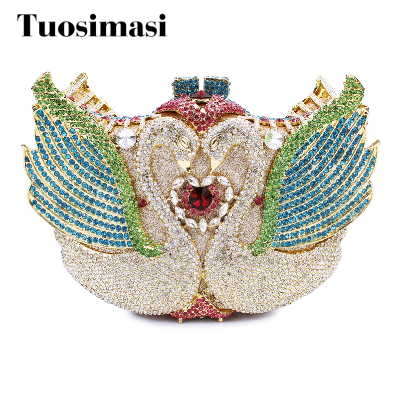 2017 new arrival colorful sweet swan evening clutch bags party bags crystal ladies clutch purses women day clutch bag(88141A-G2) luxury crystal clutch handbag women evening bag wedding party purses banquet