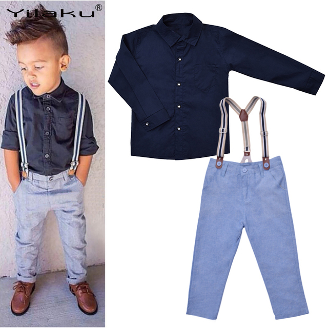 dd8f3fa53 Baby Boy Suspender Outfits Kids Formal Clothes Set Boys Gentleman Clothes  Suit Children Clothing Sets Long Sleeve Shirt+Trousers