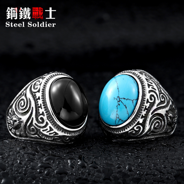 Steel soldier Size Green stone Stainless Steel Ring For Man Woman high quality f