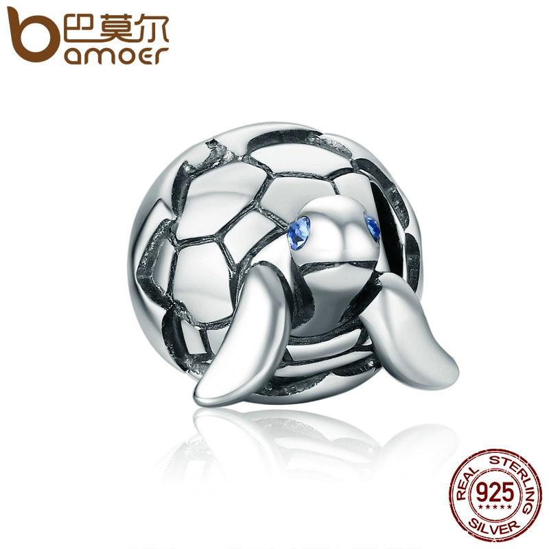 BAMOER Nette Design 925 Sterling Silber Reborn Schildkröte Schildkröte & Clear CZ Perlen fit Charme Armbänder & Armreifen DIY Schmuck SCC192