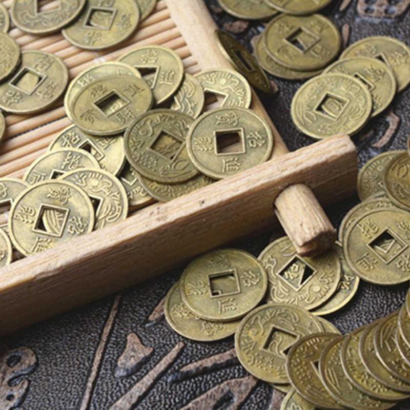 100Pcs הסיני פנג שואי מזל צ 'ינג/מטבעות עתיקים סט חינוכי עשר קיסרי עתיק מזל כסף מטבע מזל מזל עושר