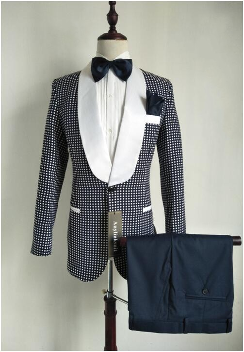 K:2297 jacket+pants+tie High Quality White Paisley Mens Suits Groom Tuxedos Groomsmen Wedding Party Dinner Best Man Suits
