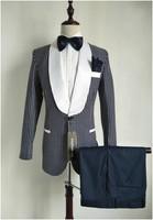 عالية الجودة الأزرق الداكن البولكا نقطة الرجال الدعاوى رفقاء العريس الزفاف حفل عشاء أفضل رجل الدعاوى (سترة + سروال + التعادل) k: 2854