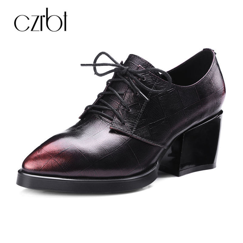 CZRBT Women Fashion Spring Autumn Ladies Stable High Heel (6.5cm) Boots Ankle Shoes Women Top Quality Genuine Printed Leather high quality genuine leather women shoes spring and autumn high heels women boots hollow out lace ladies fashion boots