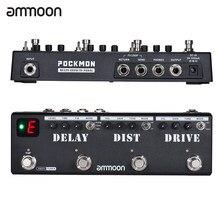 Ammoon pockmon multi-efeitos tira pedal de guitarra com tuner atraso distorção overdrive fx loop tap tempo efeito de guitarra pedal