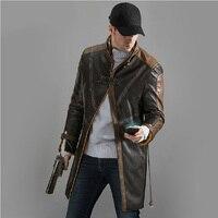 Новые часы собаки плащ игры Aiden Pearce Eden Pierce косплей костюм куртка пальто мода Мужчины искусственная кожа Тренч Шляпа Маска
