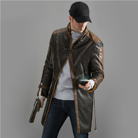 New Watch Dogs Cloak Game Aiden Pearce Eden Pierce Cosplay Costume Jacket Coat Fashion Men Imitation Leather Trench Hat Mask