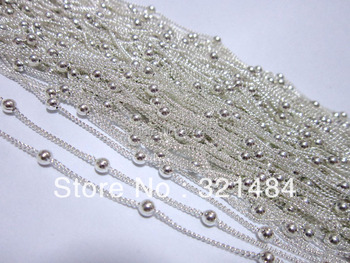 Silver Plated 50m with 3mm Ball Bead Curb Chains Findings