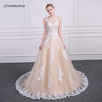 yiwumensa Robe De Mariage A line wedding dresses Champagnes with Ivory Applique wedding dress 2017 Bridal Dress Illusion gowns
