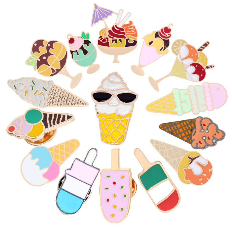 US $0 52 33% OFF|Fashion Ice Cream Dessert Brooch Vintage Enamel Pin  Jackets Badge Shirt Hijab Pins Metal Accessories Brooches For Women  Jewelry-in