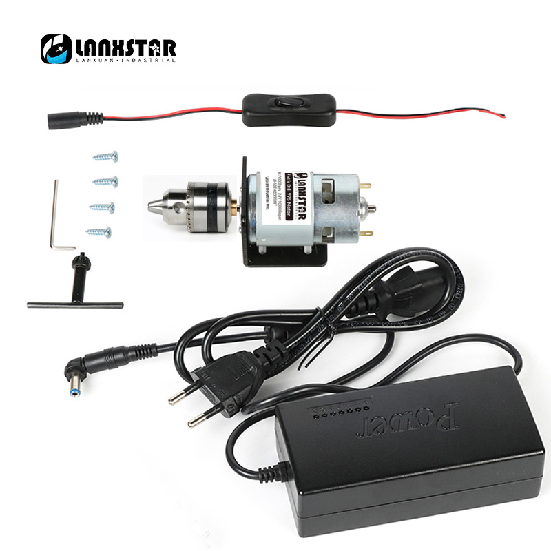 Lanxstar DC Electric 775 Motor 24V Switching Power Supply Multi-Function  Hand Electric Drill B10 Drill 0.6~6mm Range