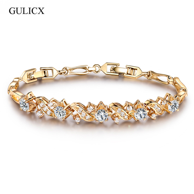 GULICX Korean Fashion Charm Bracelets Bangles Light Yelow Color White Crystal CZ Zirconia Wedding Bracelet For Women L024