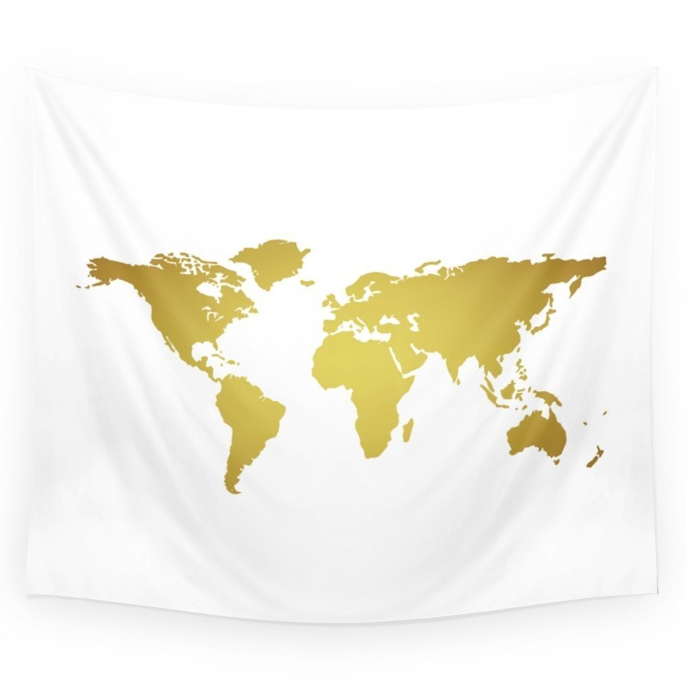 Gold Foil World Map On White Background Wall Tapestry Polyester Home Living Decor Space
