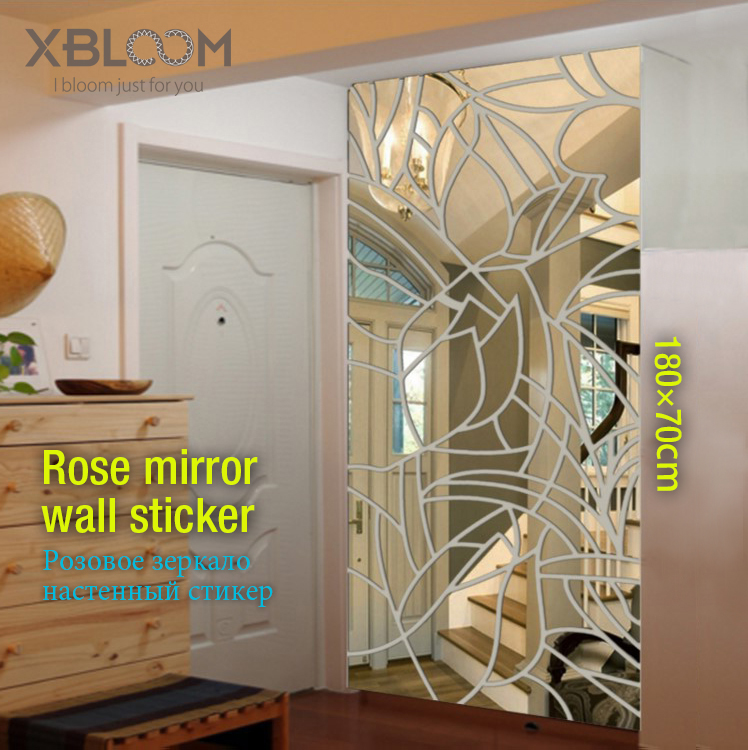 >180x70cm rose mirror wall sticker face 3D stereo wall stickers Pattern wedding <font><b>house</b></font> <font><b>bathroom</b></font> <font><b>decor</b></font> wall panel party rose vase