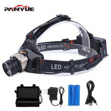 PANYUE LED Headlamp Zoomable 1000Lm T6 Head Flashlight Torch Sensor Rechargeable Head Light Forehead Lamp Head Fishing Headlight panyue body motion sensor 1000lm xml t6 led headlight headlamp head lamp light 3mode head flashlight torch zoomable rechargeable