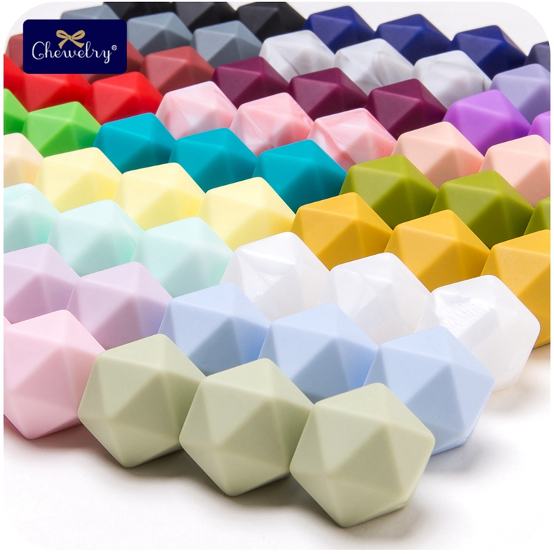 10pcs 14mm Hexagon Silicone Beads Food Grade Baby Teether DIY Toy Baby Shower Gift Necklace For Pacifier Chain Baby Product